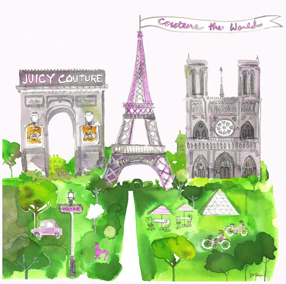 Sujean Rim for Juicy Couture Jetsetter, watercolor fragrances, Paris & Juicy Couture