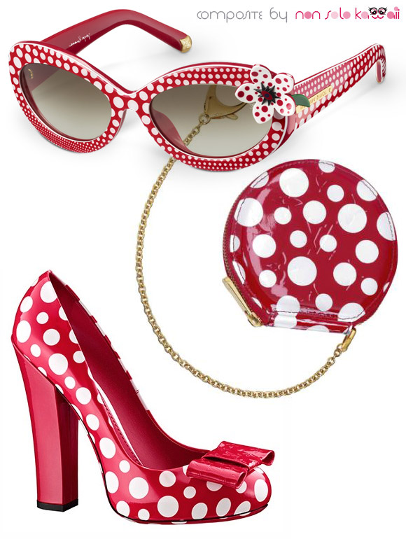 Yayoi Kusama and Louis Vuitton, Capsule Collection 2012, red polka dots eyeglases with pochette bag and shoes, occhiali da sole con scarpe e borsa a pois rossi
