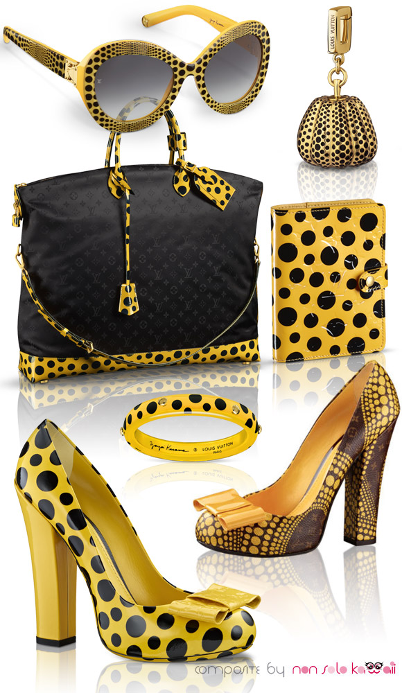 Yayoi Kusama and Louis Vuitton, Capsule Collection 2012, yellow and black polka dots eyeglases with pochette bag and shoes, occhiali da sole con scarpe e borsa a pois gialli e neri