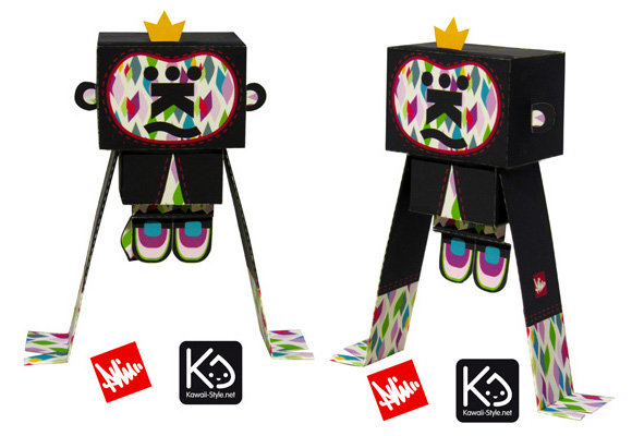 Paper toy by Kawaii Style aka Ivan Ricci at Paper in the Country, Kikoo The Monkey - customized by Phil Toys