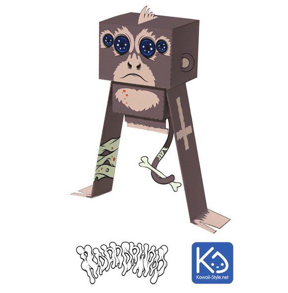 Paper toy by Kawaii Style aka Ivan Ricci at Paper in the Country, Spider Monkey - customized by Horrorwood