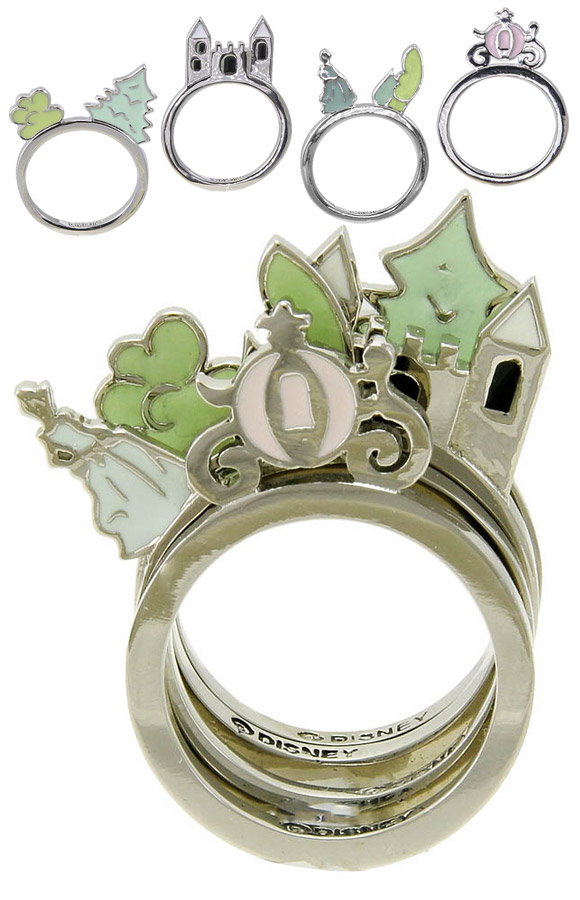 Disney Couture - Disney Couture Set of 3D Cinderella Scene Rings  / Set di Anelli 3D degli Scenari di Cenerentola