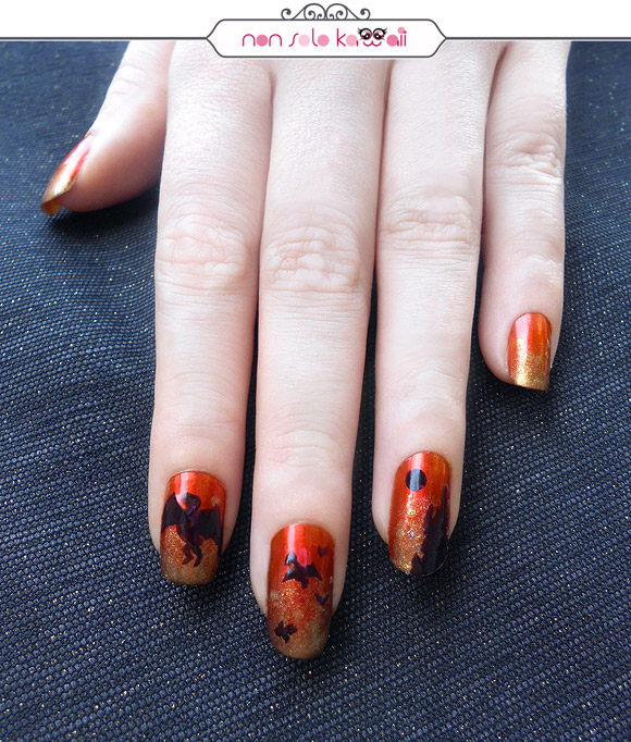 Fire City with dragons Nail art, Orly Fired Up