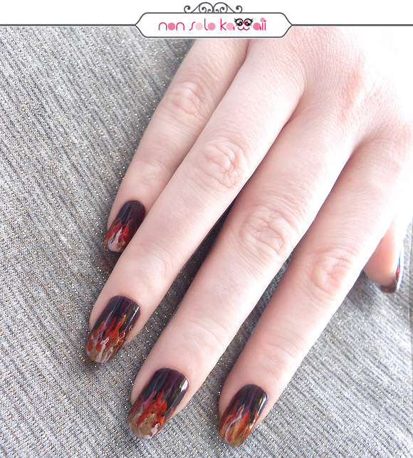 Night Blaze Fire Fuoco Nail art, Orly Fired Up