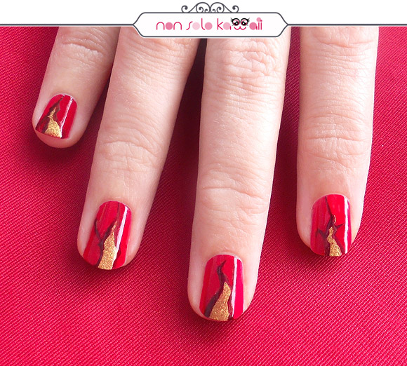 Lava Rivers Nail art, Fiumi di lava Orly Fired Up