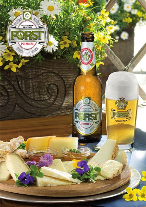 birra Forst e formaggio