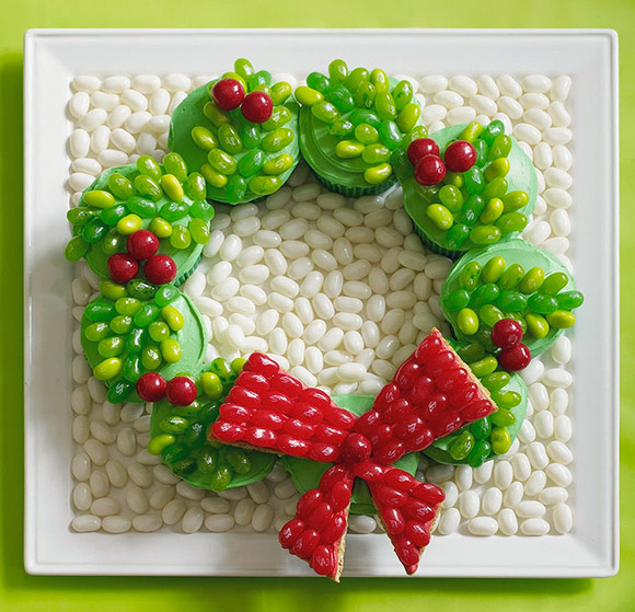 Holiday Wreath Cupcakes with Jelly Belly - Ghirlanda di Natale con Jelly Belly e Cupcakes
