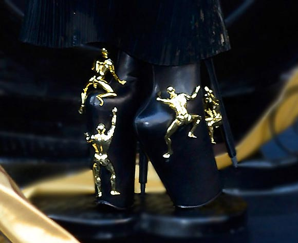 Lady Gaga Fame launch at Macy's Herald Square in New York City, shoes with gold men
