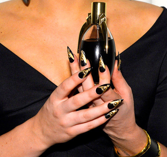 Lady Gaga Fame, launch at Macy's Herald Square, gold nails