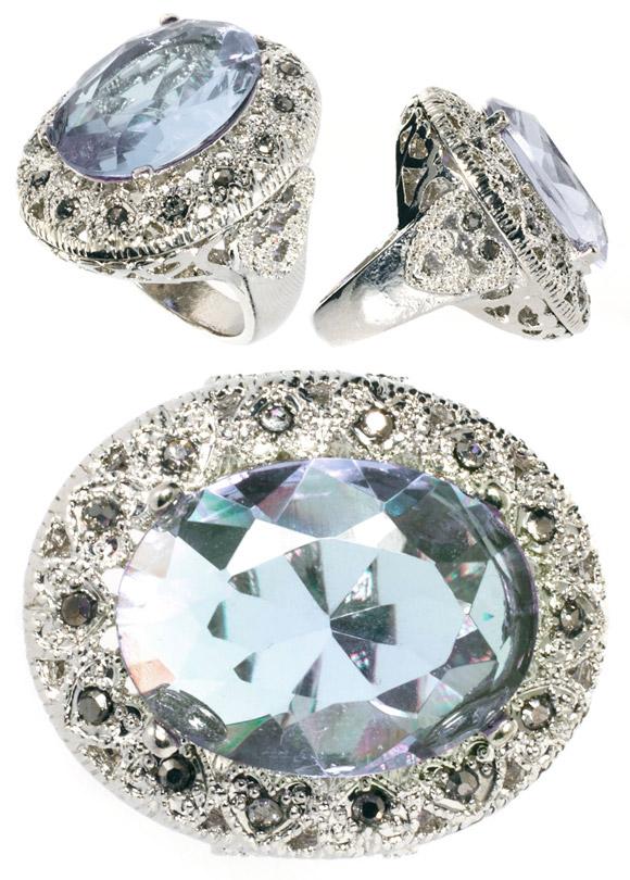 River Island - Vintage ring, anello con cristallo azzurro