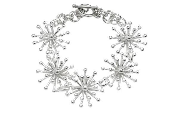The Jewellery People - 3D Snowflake silver bracelet, braccialetto con cristalli di neve
