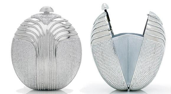 Judith Leiber - Deco Oval Minaudiere handbag, borsa palla di neve