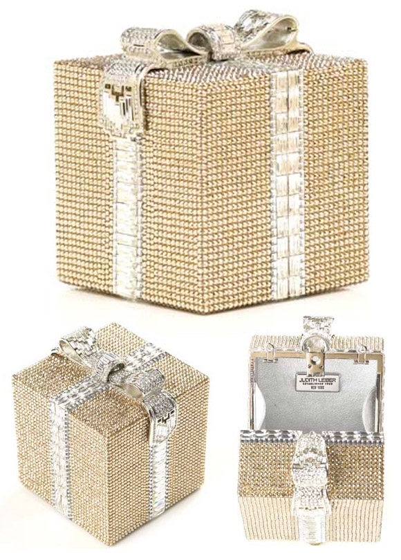 Christmas Pixie: Judith Leiber - Gift Package Crystal Minaudière handbag, borsa pacco regalo di natale