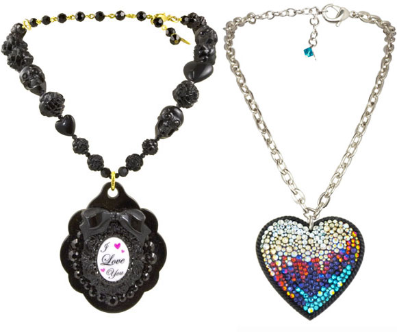 Tarina Tarantino - Baroque Lucite Love Multibead Necklace, Spectrum Infrared Pavé Heart Necklace