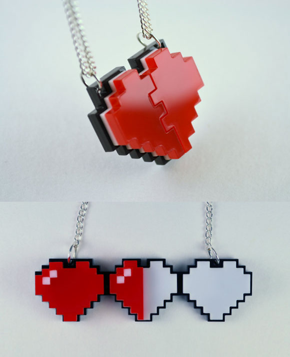 LicketyCut - Pixel Heart Necklaces