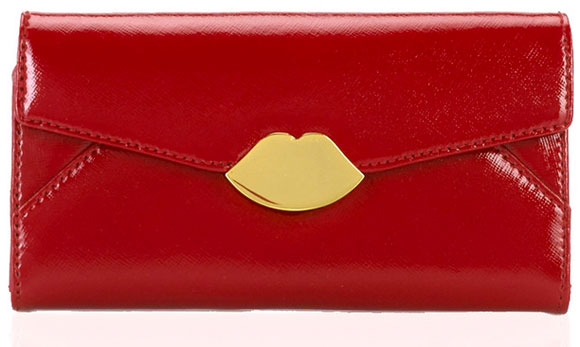 Lulu Guinness - Red Cross Hatched Leather Small Wallet