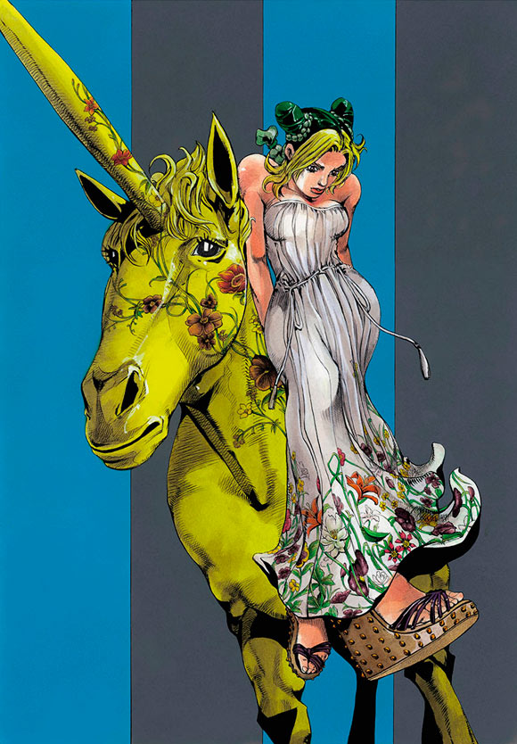 Hirohiko Araki for Gucci, fashion manga - Cruise Collection 2013, abito flora
