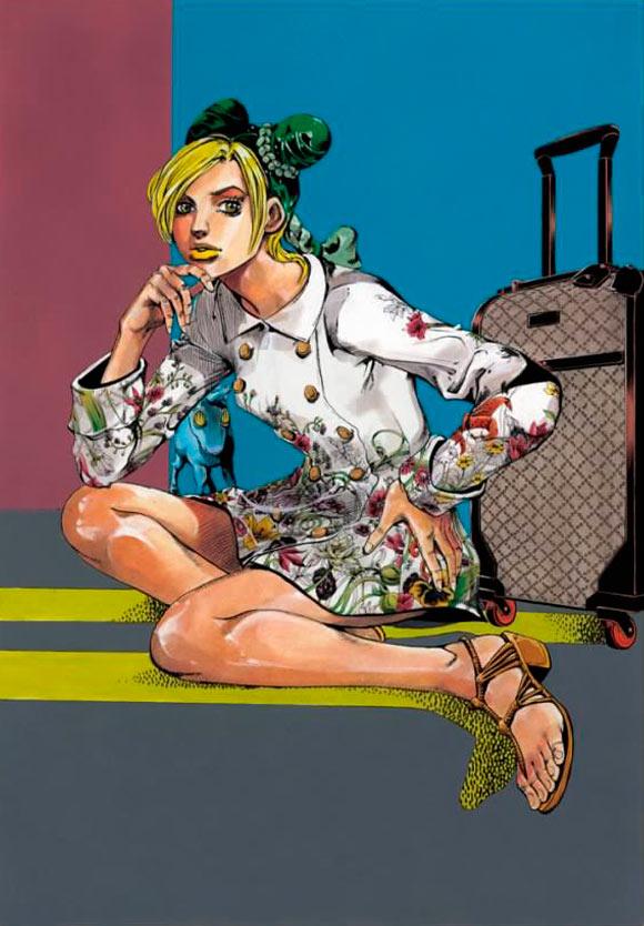 Hirohiko Araki for Gucci, fashion manga - Cruise Collection 2013, cappotto bianco flora