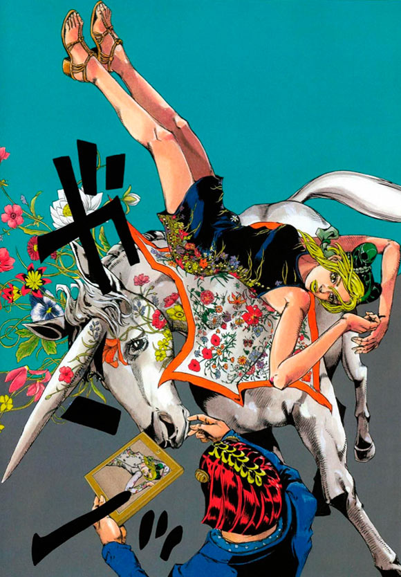 Hirohiko Araki for Gucci, fashion manga - Cruise Collection 2013, abito nero flora