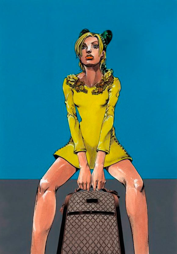 Hirohiko Araki for Gucci, fashion manga - Cruise Collection 2013, abito giallo