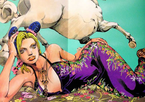 Hirohiko Araki for Gucci, fashion manga - Cruise Collection 2013, abito nero flora