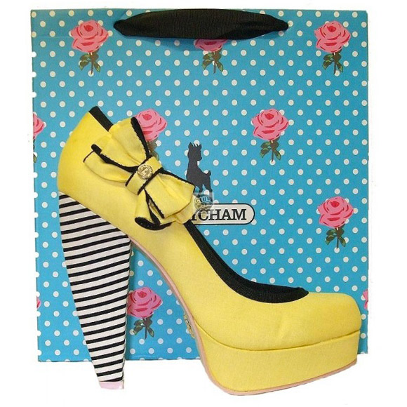 Babycham Fern Banner Yellow Platform Shoes