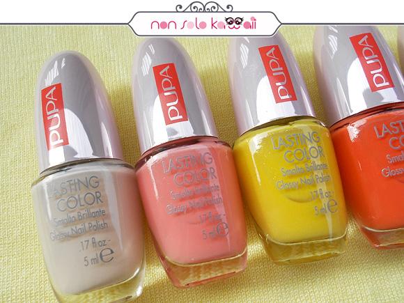 Pupa 50's Dream Lasting Color: 110 50's Dream Rose White, 215 50's Dream Candy Pink, 514 50's Dream Pearly Lemon, 515 50's Dream Spicy Orange