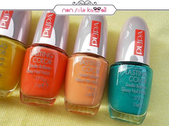 Pupa 50's Dream Lasting Color: 515 50's Dream Spicy Orange, 516 50's Dream Apricot, 742 50's Dream Pearly Green