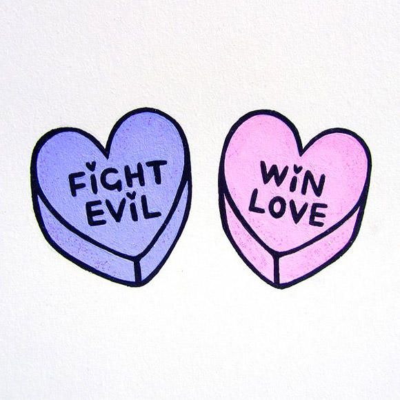 Bei Badgirl, two teeny Sailor Moon themed candy hearts, 2012