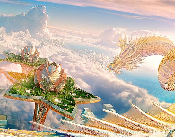 City in the sky by Tsvetan Toshkov, Megatropolis project