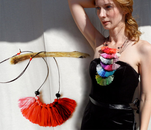 River Island - Bird of Paradise Fire Coral and Wine Fiber Tassel Necklace, Ombre Colors