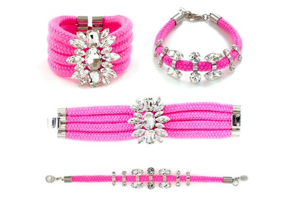 nOir Jewelry - Adalti Cord & Crystal Bracelet & Sahota Thin Cord & Crystals Bracelet