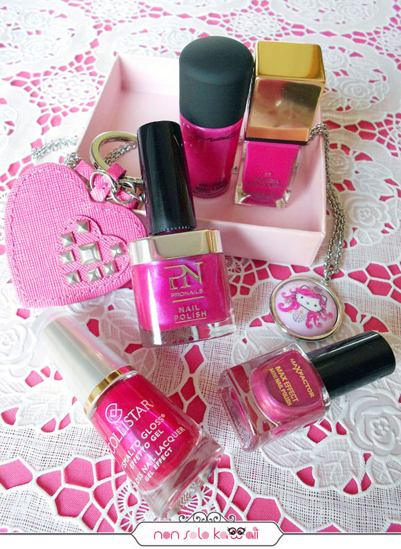 smalti rosa e fucsia corallo, cherry pink and fuchsia nail polishes