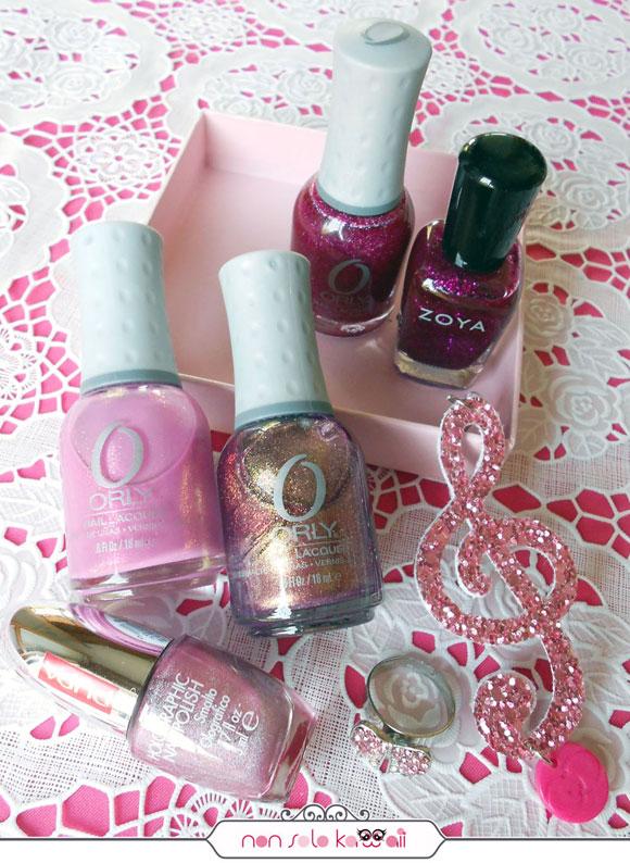 smalti rosa e fucsia glitterati, Sparkling Pink nail polishes