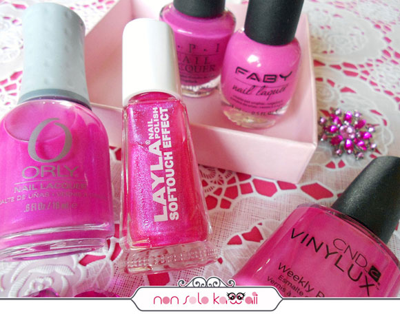 smalti rosa e fucsia corallo, Shocking pink and fuchsia nail polishes