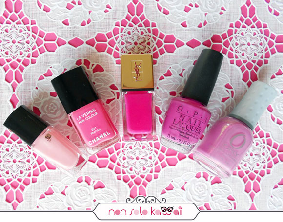 smalti rosa e fucsia, pink and fuchsia nail polishes