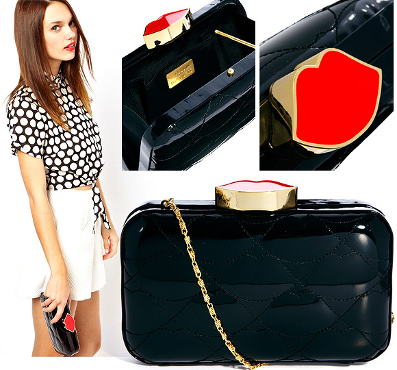 Cart by Lulu Guinness  - Lulu Guinness Fifi Quilted Lips Box Clutch