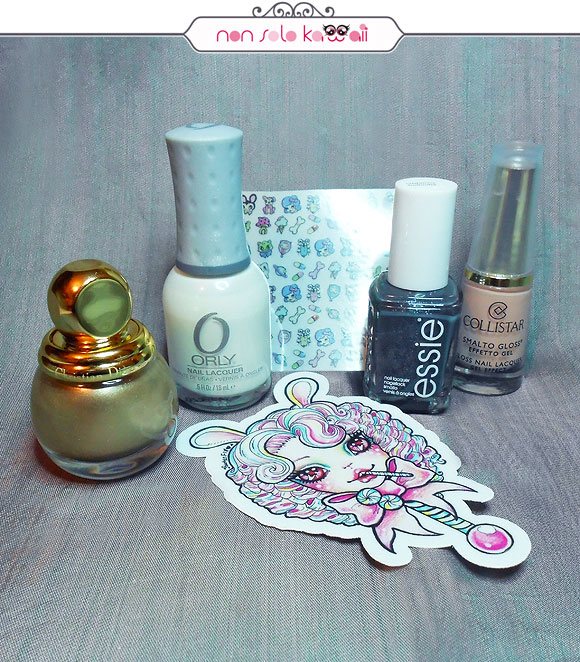 non solo Kawaii - Nail Arts for Grazia.it, Grey & Bon Ton