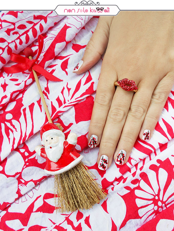 non solo Kawaii - Nail Arts for Grazia.it, Red & White Winter