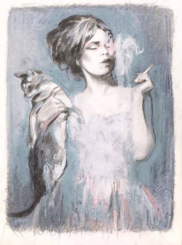Cat Art Show, 101/exhibit - Rhonda and the cat, Mercedes Helnwein