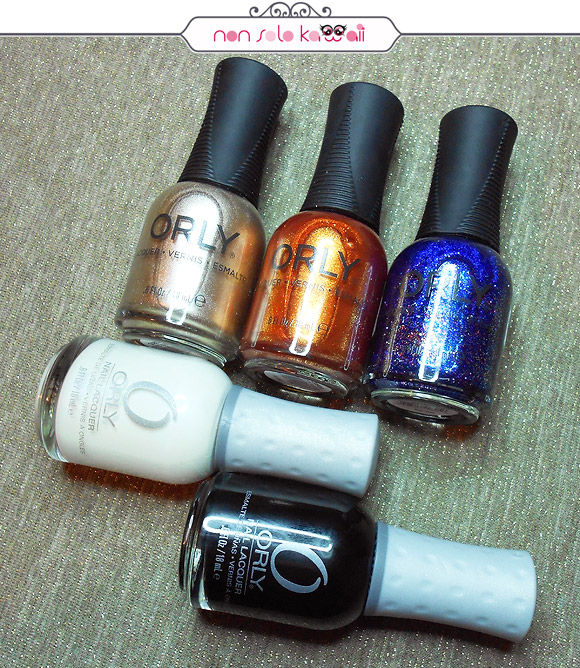 Voyeristic Adventure, What's The Password, Macabre Masquerade, Dayglow (Orly Feel The Vibe), Liquid Vinyl (Orly Flash Glam FX)