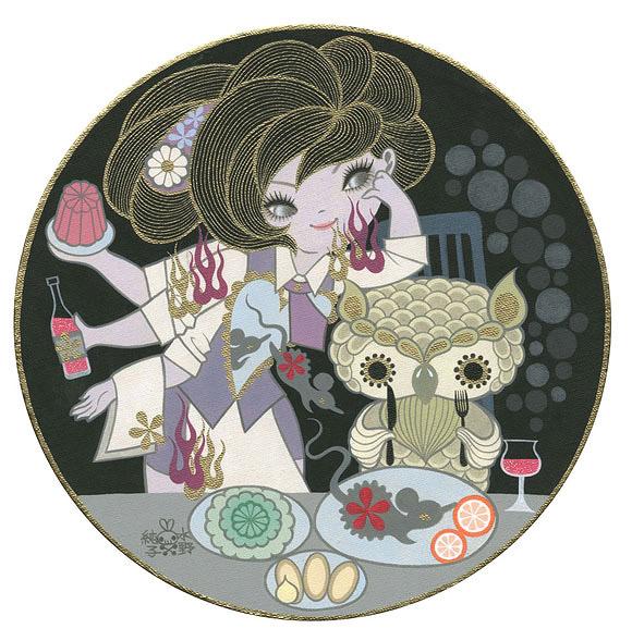 Junko Mizuno, Owl's Dinner - The Cotton Candy Machine Gallery