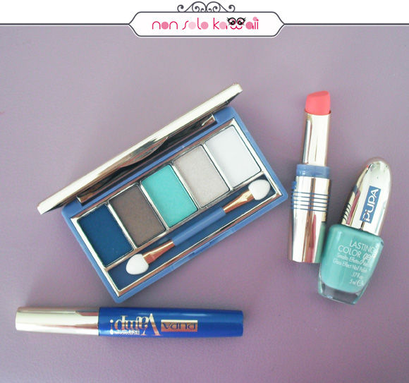Pupa Milano Vamp! Compact Eyeshadow Palette 002 Atoll, Pupa Vamp! Professional Liner 301 Shocking Blue, Miss Pupa Velvet Matte 001 Chic Pink, Pupa Lasting Color Gel 060 Navy Chic Aquamarine