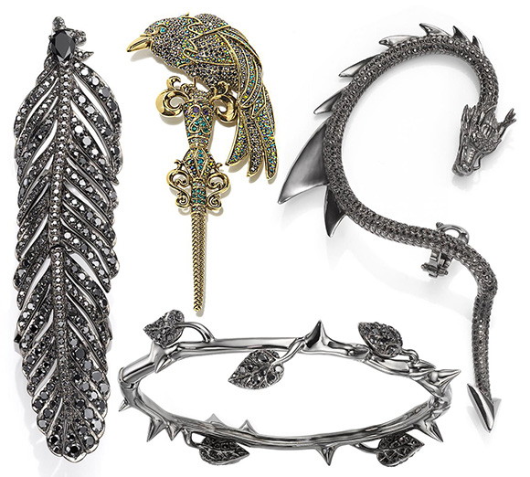 Crow's Nest for Disney - Raven Feather Ring | Heidi Daus - Ravishing Raven Pavé Crystal Pin | Crow's Nest for Disney - Thorn Bangle | Crow's Nest for Disney - Dragon Earcuff