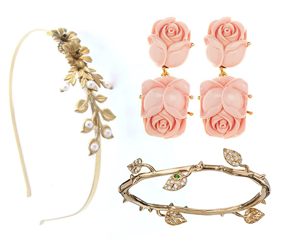 YaelSteinberg - Bridal Gold Headband | Oscar de la Renta - Large Resin Rose Earring | Crow's Nest - Who Needs A Rose Bracelet