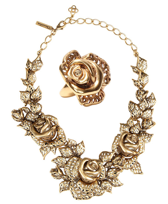 Oscar de la Renta - Gold Rose Necklace | Oscar de la Renta - Carved Rose Ring
