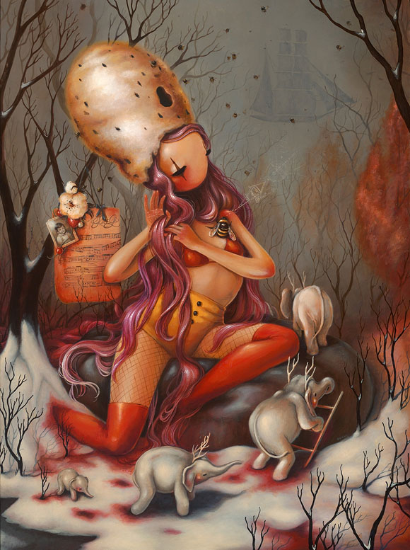 Brandi Milne, The Song He Sings To Me | Here Inside My Broken Heart, Corey Helford Gallery