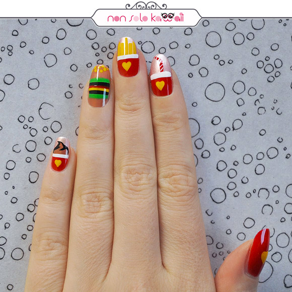 non solo Kawaii - Nail Arts for Grazia.it, Fast Food Party