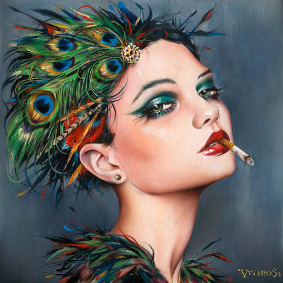 Brian M. Viveros - Feathers (2015) | La Familia – Thinkspace 10th Anniversary Show