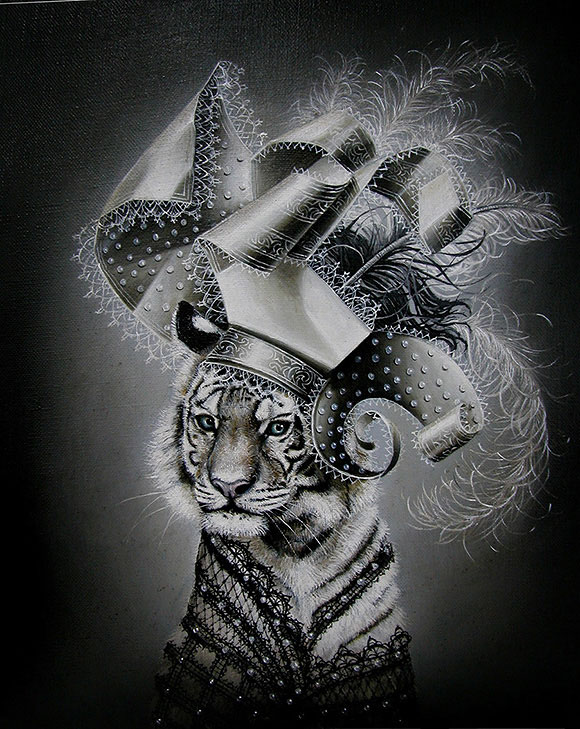 Marc le Rest, White Tiger (Noir and Blanc) | The Mad Hatter, Modern Eden Gallery